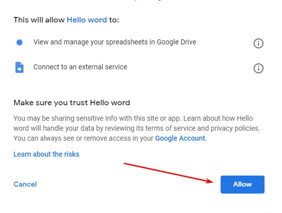 Авторизация в Google Apps Script шаг 5