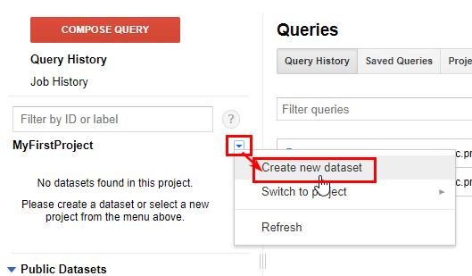 BigQuery проект с набором данных, содержащим таблицы