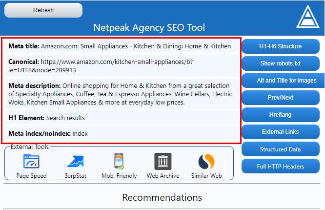 Brief description of the Netpeak Agency SEO Tool interface