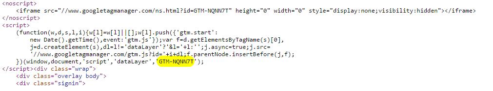 ще дърпаме GTM ID с помощта на регулярен израз