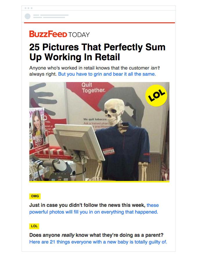 Первый шаблон рассылки — BuzzFeed Today