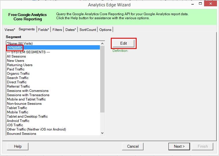 Выберите в раскрывающемся меню Segment пункт DYNAMIC, он активирует кнопку Edit