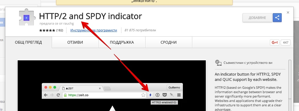 HTTP/2 and SPDY indicator