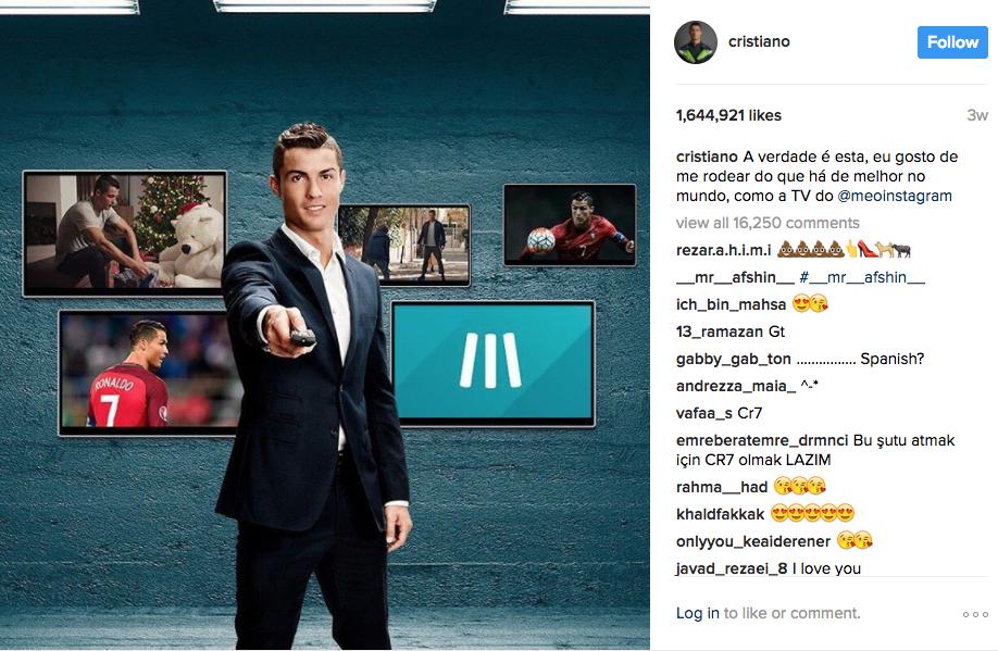 На второ място е футбoлната звезда Кристиано Роналдо със своите 121 млн. последователи