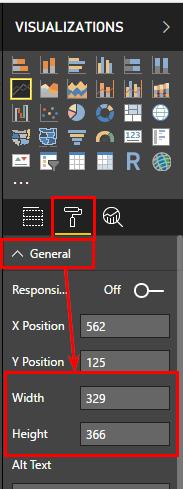 Далее я привел оба визуальных элемента к одинаковому размеру, перейдя в области «Формат» в блок «Общие»