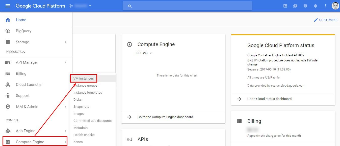 Далее перейдите по пути «Compute Engine» — «VM instances» в раскрывающемся боковом меню