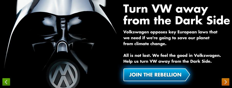 Greenpeace в Великобритании противостоит корпоративной стратегии Volkswagen