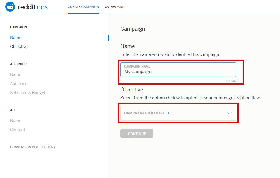 Для начала необходимо указать название кампании (Name) и цель продвижения (Campaign Objective)