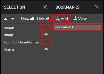 Для первой на панели «Selection» делаем невидимыми два из четырех визуальных элементов, убираем одно из положений переключателя и график, жмём на панели закладок («Bookmarks») кнопку «Add»
