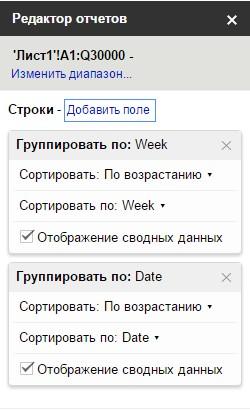 В редакторе отчетов в область строки добавить поле Week и перетащить его на уровень выше, чем поле Date
