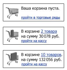 Еще один хороший ход — менять иконку в зависимости от количества добавленных товаров