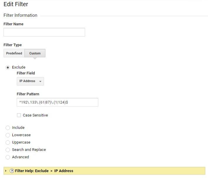 Если хотите исключить набор разных IP, можно использовать пользовательский фильтр и задать в нем регулярное выражение, которое будет покрывать все исключаемые IP