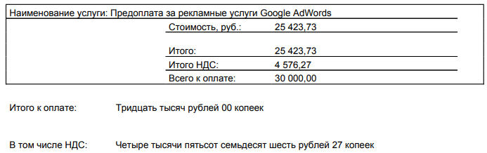 если расходы по рекламе составили 25423,73 рубля, то заплатить придется 30 тысяч рублей
