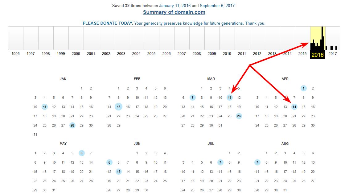 Если сайт есть в веб-архиве, рекомендуем выбрать несколько копий сайта за разные даты в течение двух лет