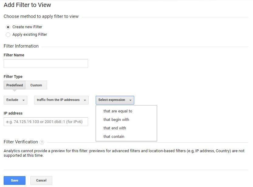 Ако сътрудниците имат статичен IP адрес, Вие можете в основния изглед на Google Analytics да изключите този IP с помощта на предварително направен филтър