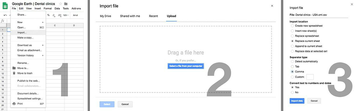 файл CSV готов, импортируем его в таблицу с настройками