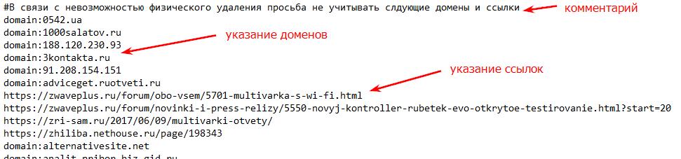 Файл со списком ссылок должен быть сформирован по определенным правилам
