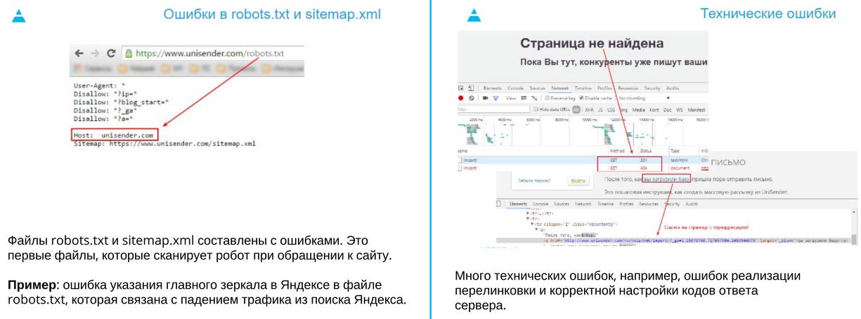 Технические ошибки и ошибки в robots.txt и sitemap.xml