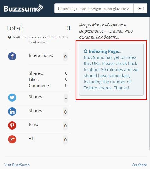 Если попробовать посмотреть количество твитов с зеркала сайта, BuzzSumo предложит подождать около получаса, пока собирается информация из базы Gnip
