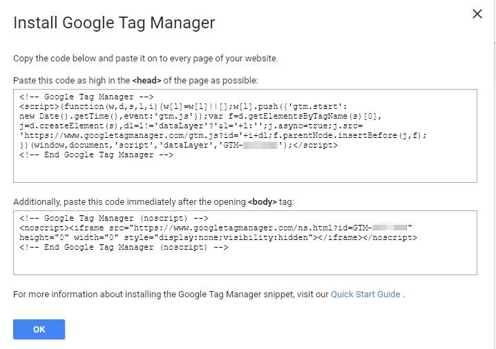 Ще видите два кодови фрагмента, които трябва да инсталирате, за да можете да използвате GTM