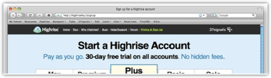 Start a Highrise Account