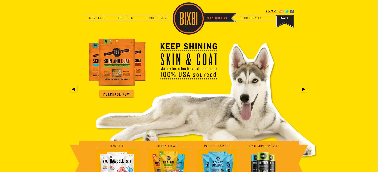 Хороший пример яркого сайта магазина с баннером Hero Image, который привлекает внимание к определенному продукту