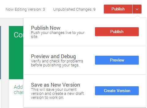 При нажатии на кнопку публикации вы, как и прежде, можете опубликовать содержимое контейнера, запустить режим отладки или создать версию.
