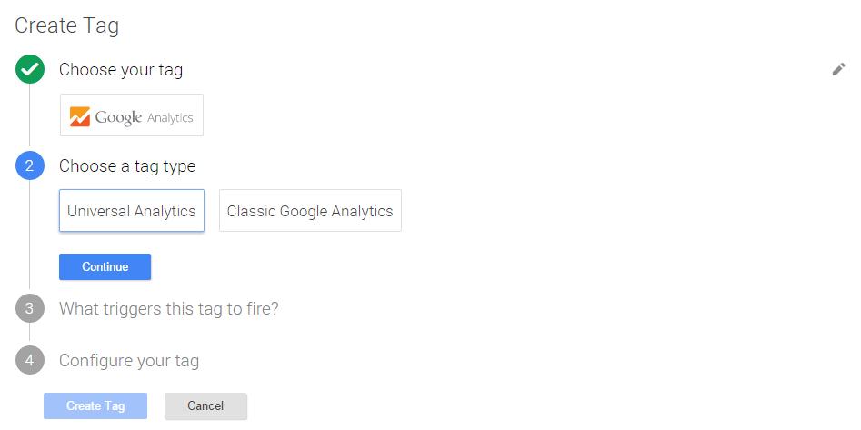Можно выбрать тип тега, например, Universal Analytics или Google Analytics