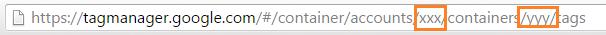 id аккаунта и id контейнера можно получить из url в GTM