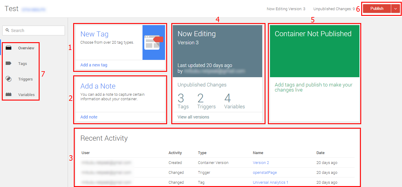 Пример обновлений в интерфейсе Google Tag Manager