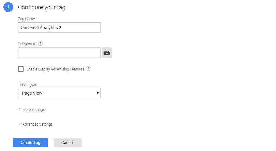 Настройка тега в Google Tag Manager v2