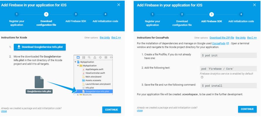 На компютъра се зарежда файл GoogleService-Info.plist и се отваря прозорец с инструкции за инсталиране, които също трябва да се изпратят на разработчиците на приложението