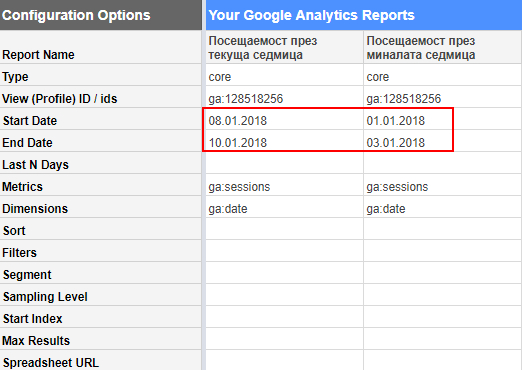 Създаваме заявка за импорт на данни за миналата седмица с помощта на «Create new report» или копираме данните в съседната клетка на таблицата