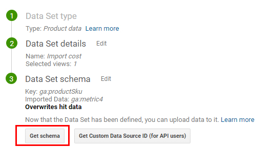 Схемата на набора с данни е шаблон за CSV-файл, в който ще бъдат качени данните за себестойността от клиентската CRM