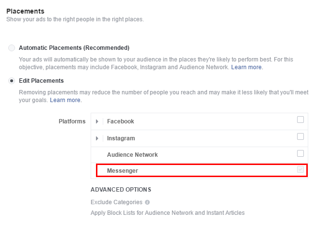 Messenger-ът е достъпен там като медия, заедно с Facebook, Instagram и Audience Network