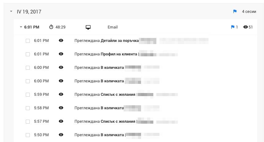 отчет за потребителско поведение въз основа на User-ID