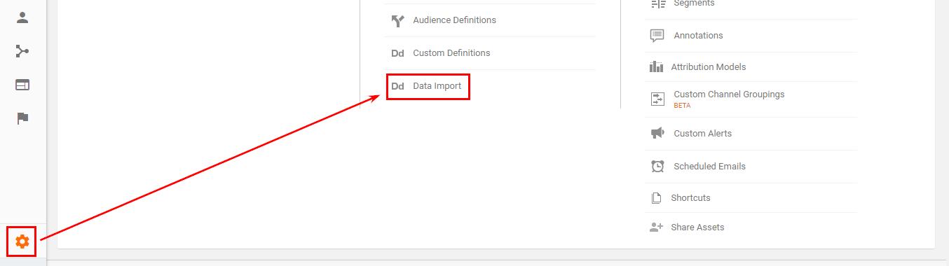 Шаблон за импортиране на данни в Google Analytics
