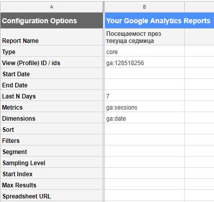 Виждаме, че се генерира вложка «Report Configuration». Тя съдържа информацията, която смятаме да експортираме