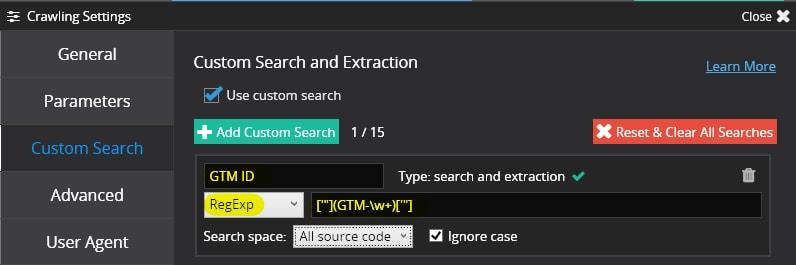 В Netpeak Spider отиваме в аналогични настройки за сканиране и въвеждаме търсене по регулярен израз