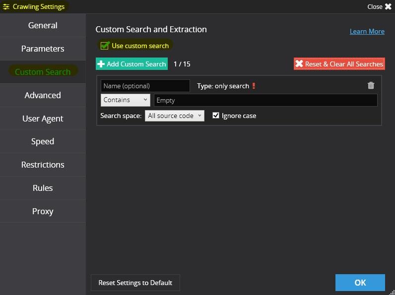 След това преминаваме към настройките за сканиране на Netpeak Spider на таб «Custom Search» и чекваме «Use custom search»