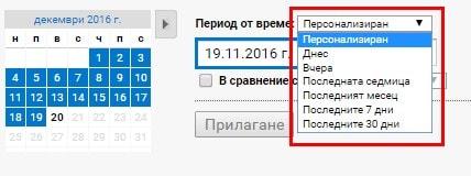 Ако искате отчетът да съдържа само актуални данни при пращането, вместо определен диапазон от дати, изберете «Вчера», «Последната седмица» и т.н.