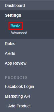 Във вложката «Основно» се намира информация за ID и App Secret на приложението, което ще е нужно за работа с API