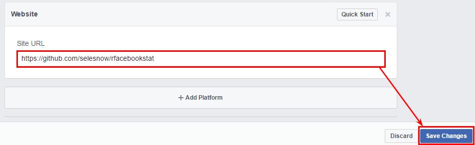 В полето «URL- адрес на сайта» въведете «https://github.com/selesnow/rfacebookstat» и натиснете «Запази промените»