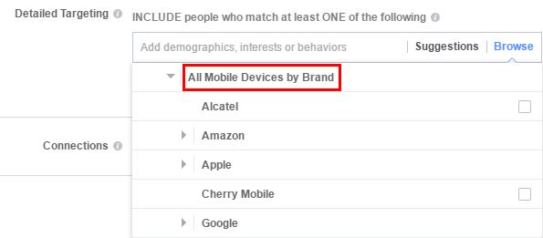 Таргетинг - собственици на мобилни устройства от определен бранд