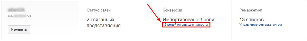 Импортируйте цели в Google AdWords