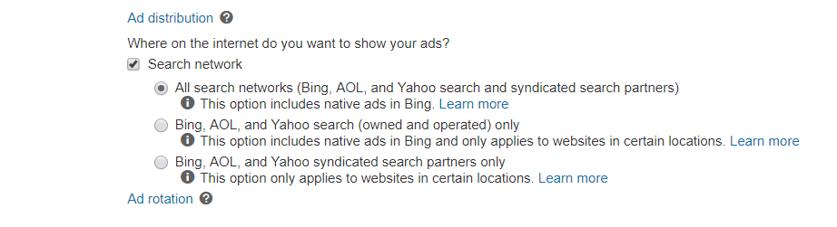 In Bing ads you can choose