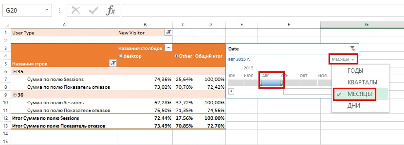 С помощью временной шкалы очень удобно выбирать период, за который мы хотим вывести данные в отчет сводной таблицы