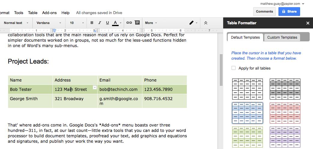 Как форматировать таблицы в Google Документах