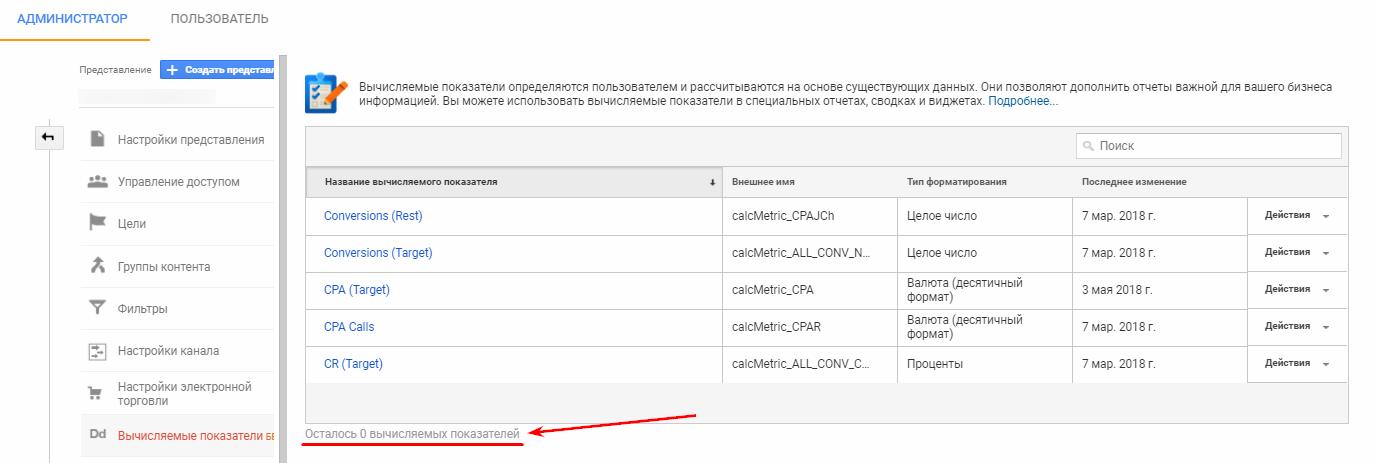 Как избежать ограничения Google Analytics на количество «Вычисляемых показателей»