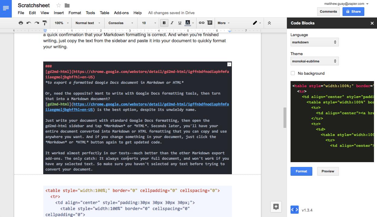 Как отформатировать код в Google Документах